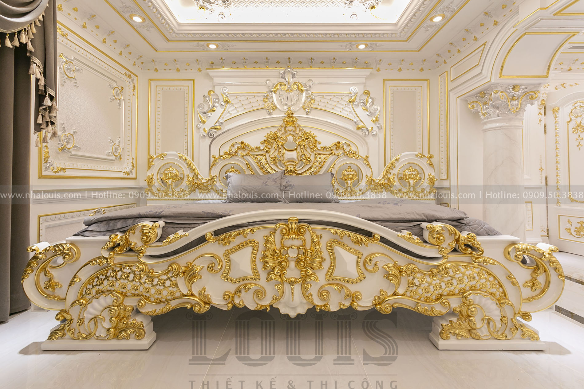 Phòng ngủ master biệt thự cổ điển nhà bè