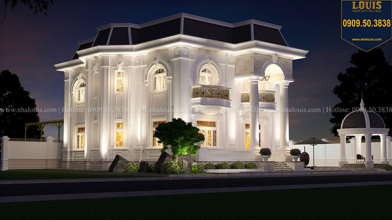 Mặt tiền Biệt thự 1 trệt 1 lầu tân cổ điển đẹp trang nhã tại Tiền Giang - 04