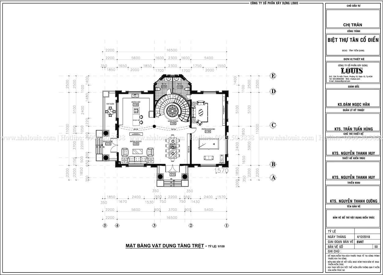 Mặt bằng tầng trệt nhà 2 tầng tân cổ điển mái Mansard
