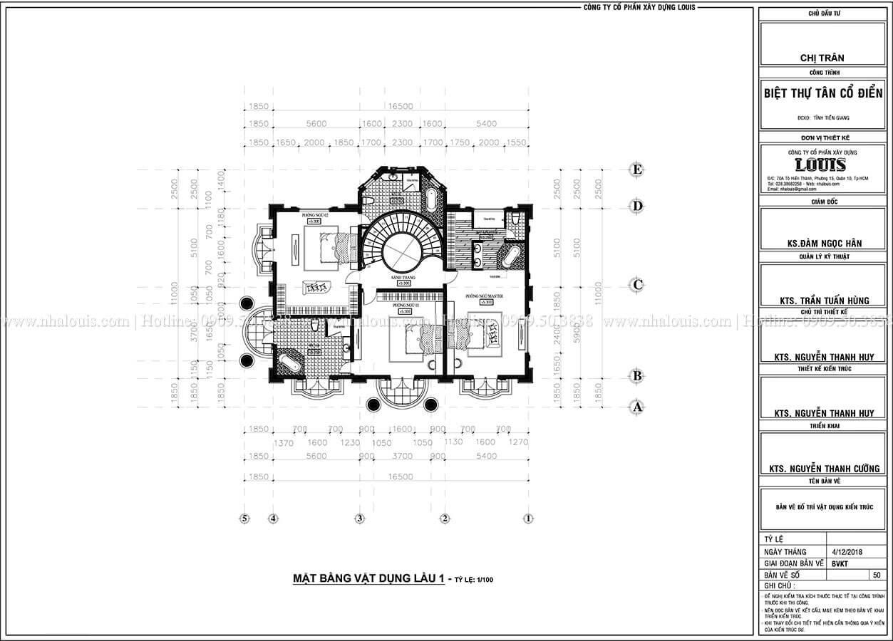 Mặt bằng tầng 1 nhà 2 tầng tân cổ điển mái Mansard