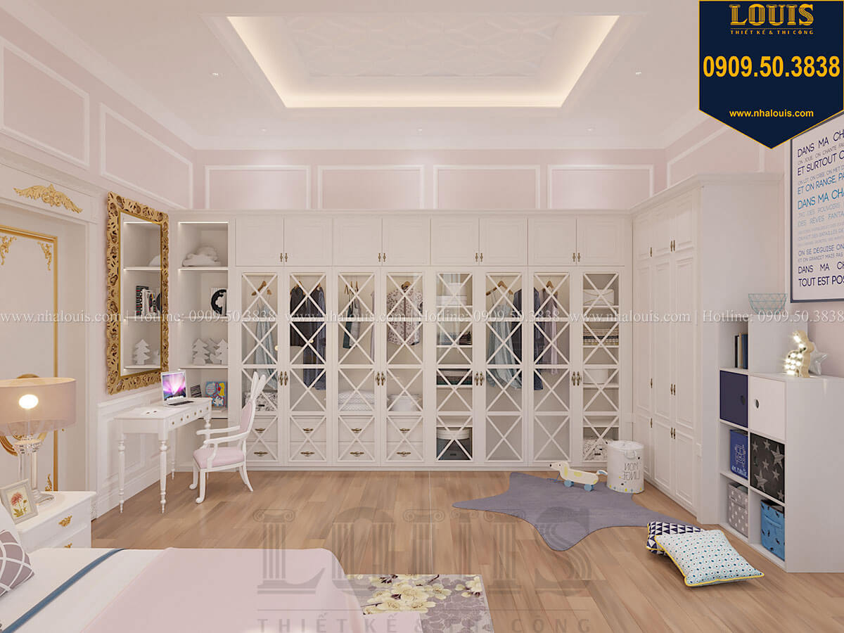 Phòng ngủ con gái Biệt thự 1 trệt 1 lầu tân cổ điển đẹp trang nhã tại Tiền Giang - 41