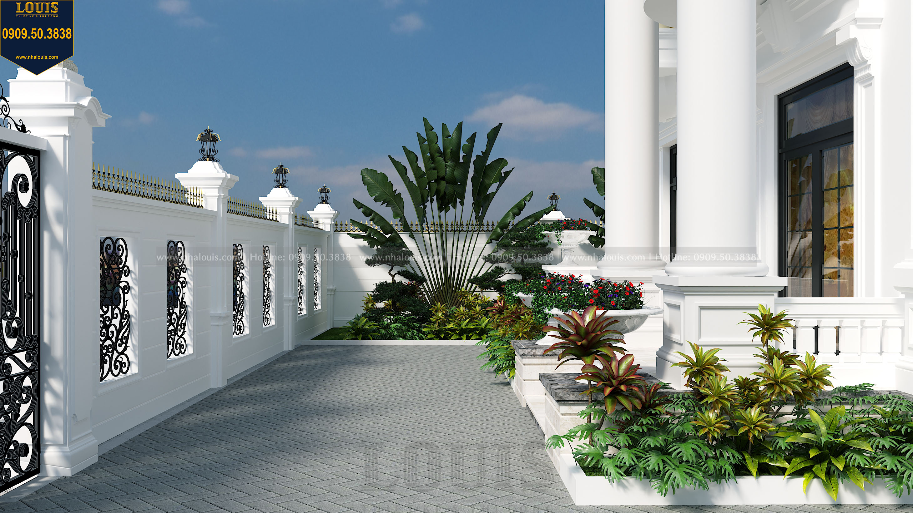 view sân vườn biệt thư tân cổ điển