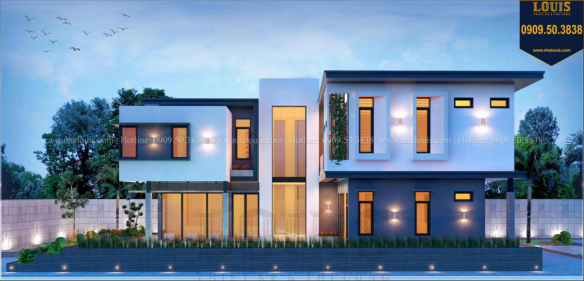 Mặt tiền Biệt thự 2 tầng hiện đại mặt tiền 13.5m sang chảnh tại Kiên Giang - 02