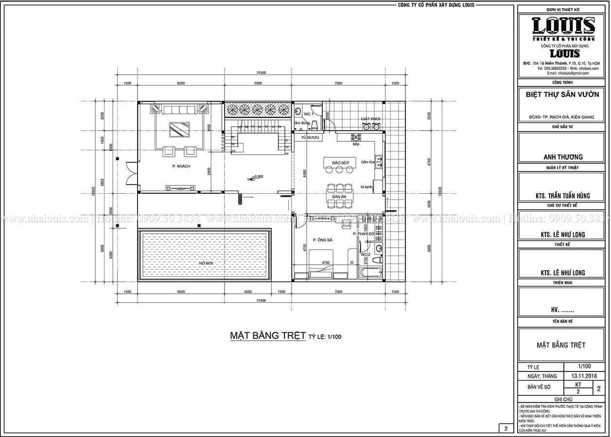 Mặt bằng tầng trệt Biệt thự 2 tầng hiện đại mặt tiền 13.5m sang chảnh tại Kiên Giang - 08