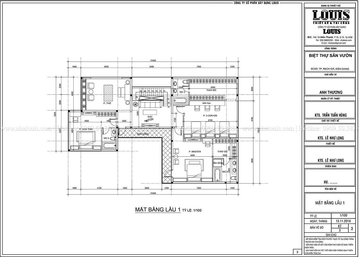Mặt bằng 1 Biệt thự 2 tầng hiện đại mặt tiền 13.5m sang chảnh tại Kiên Giang - 09
