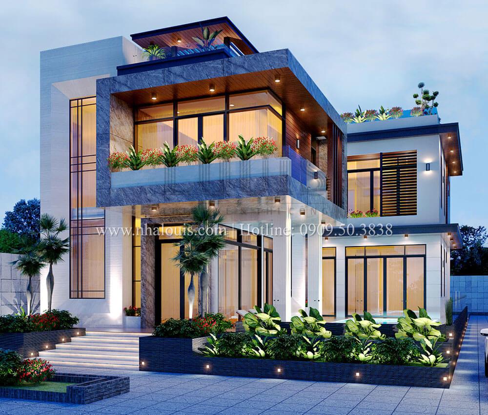 Mặt bằng 1 Biệt thự 2 tầng hiện đại mặt tiền 13.5m sang chảnh tại Kiên Giang