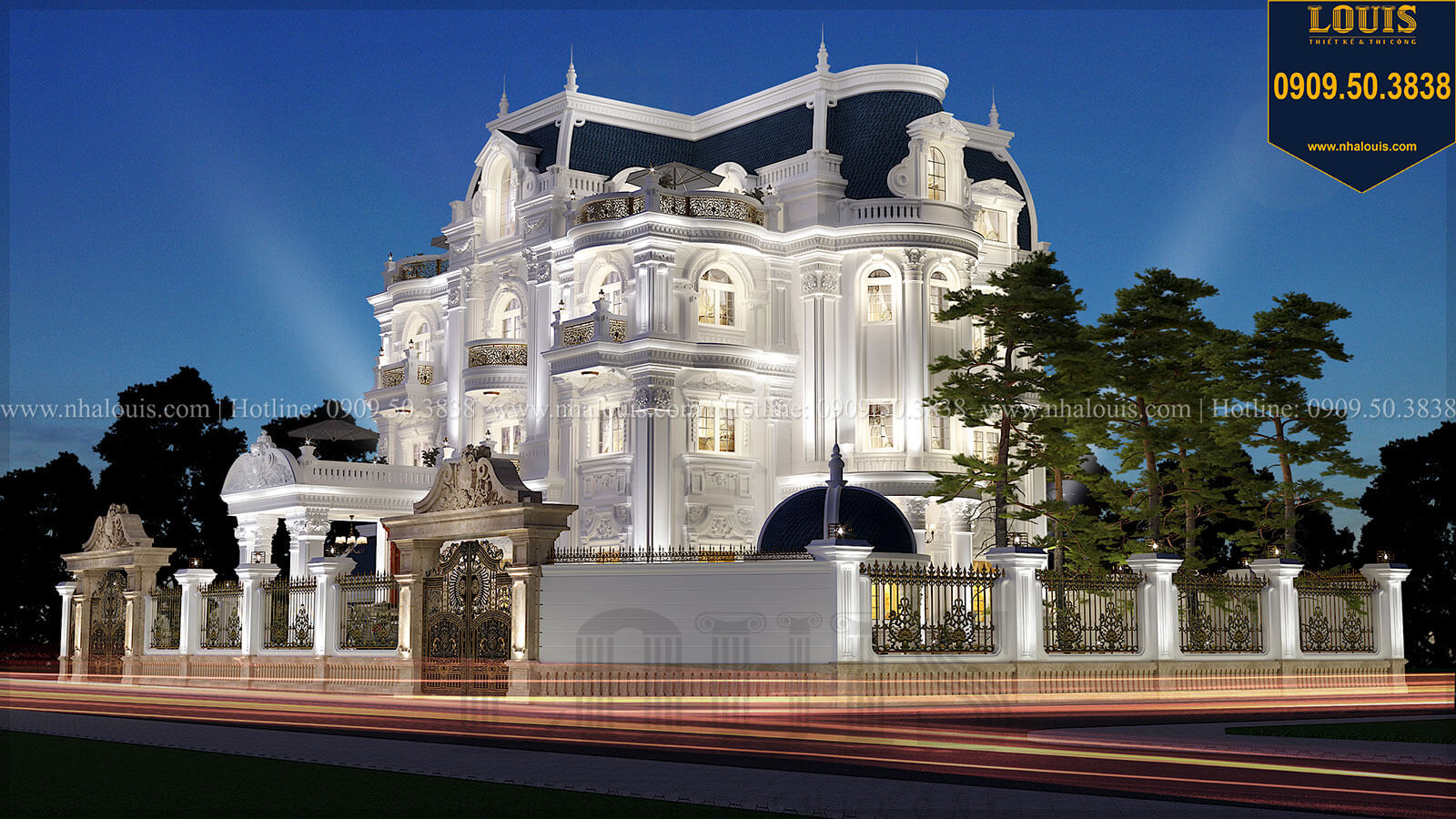 Biệt thự 4 tầng mặt tiền 16m phong cách cổ điển tại Bình Dương