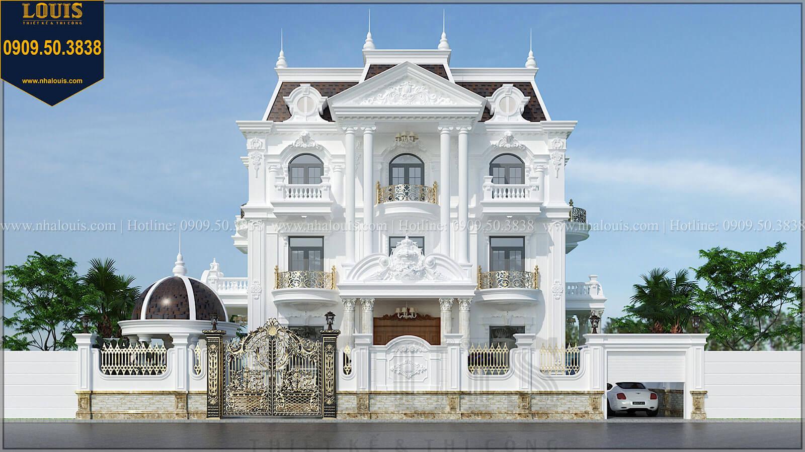 Mặt tiền Biệt thự đẹp 3 tầng phong cách cổ điển bề thế tại Quảng Ngãi - 01