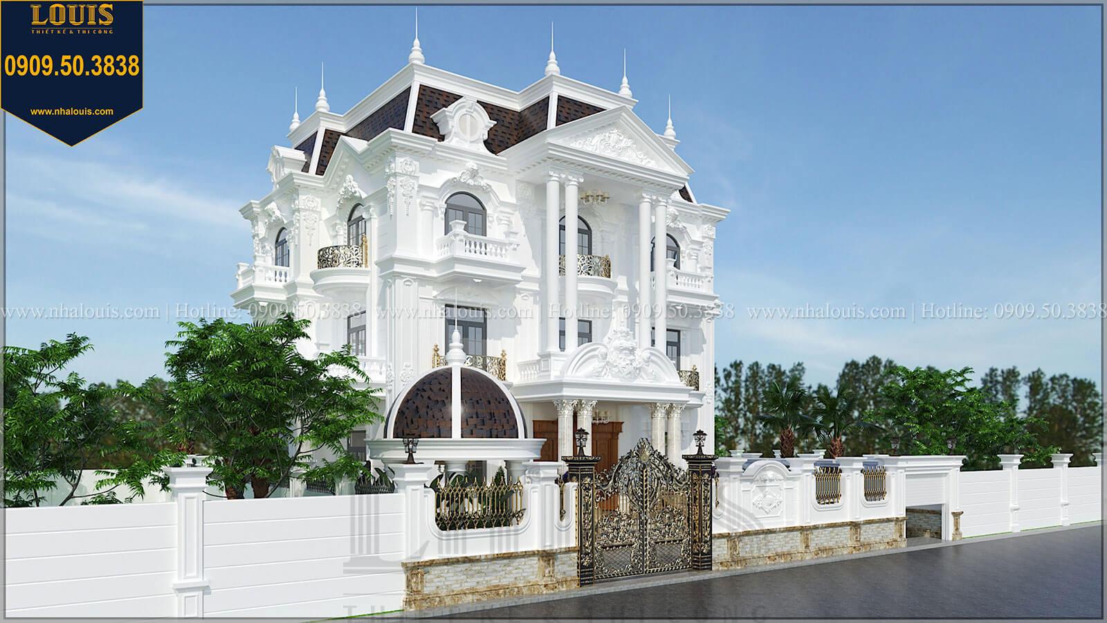 Mặt tiền Biệt thự đẹp 3 tầng phong cách cổ điển bề thế tại Quảng Ngãi - 02