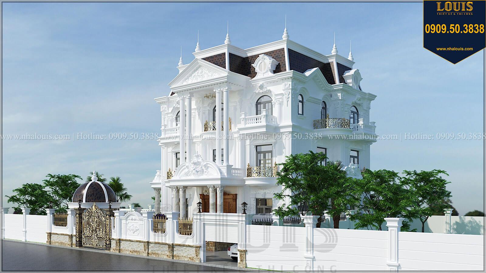 Mặt tiền Biệt thự đẹp 3 tầng phong cách cổ điển bề thế tại Quảng Ngãi - 03