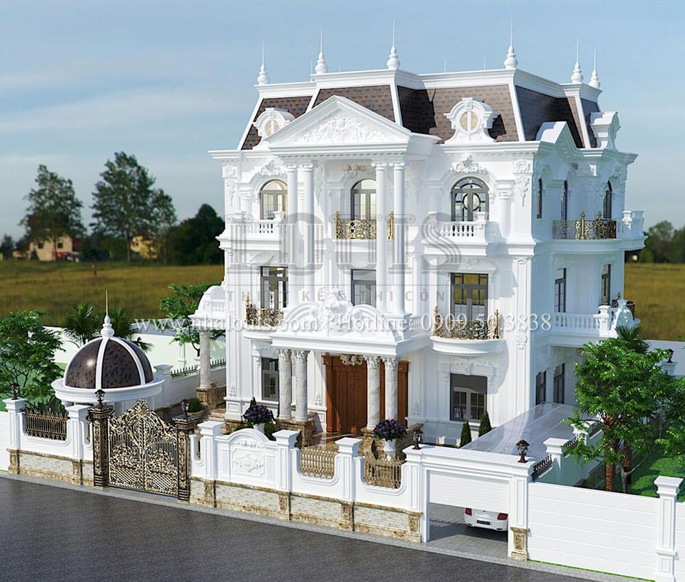 Biệt thự đẹp 3 tầng phong cách cổ điển bề thế tại Quảng Ngãi