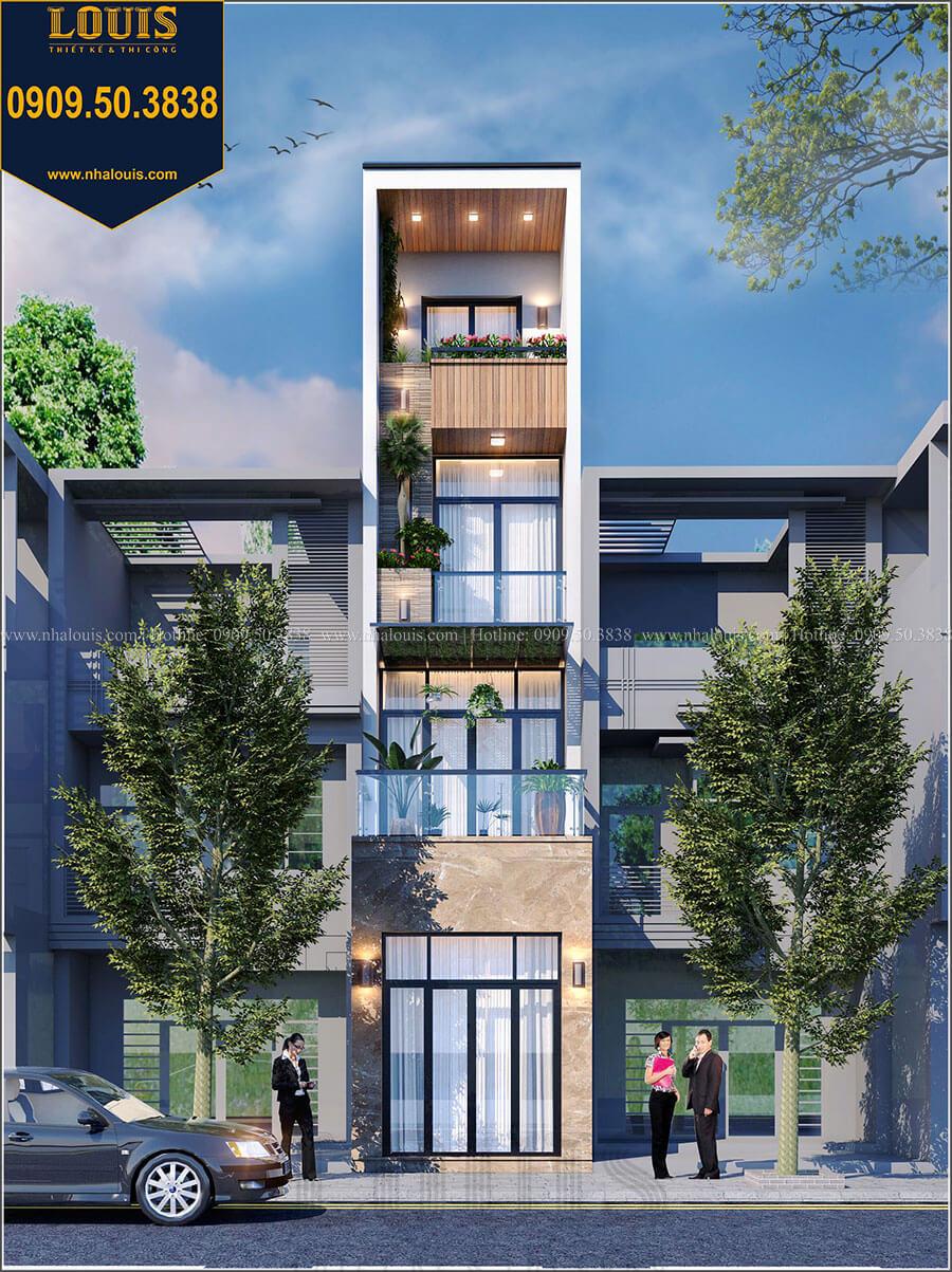 Mặt tiền Thiết kế nhà phố 4 tầng phong cách hiện đại tại Bến Tre - 01
