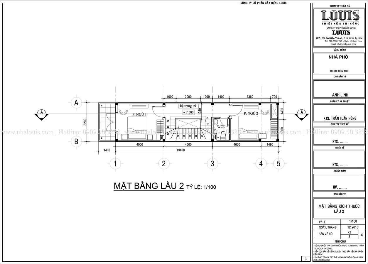 Mặt bằng tầng 2 Thiết kế nhà phố 4 tầng phong cách hiện đại tại Bến Tre - 04