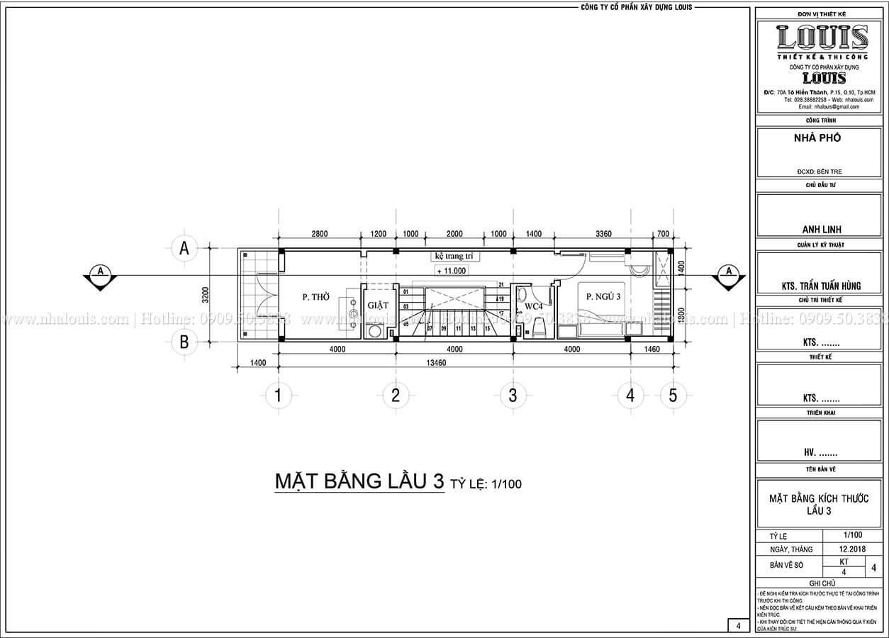 Mặt bằng tầng 3 Thiết kế nhà phố 4 tầng phong cách hiện đại tại Bến Tre - 05