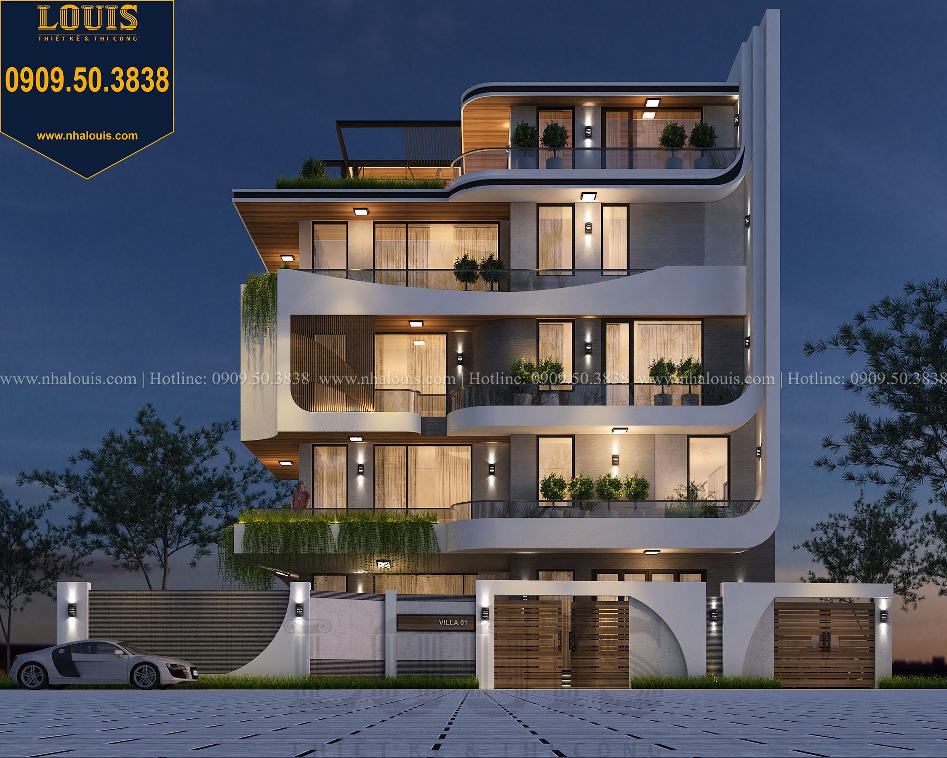 Mặt tiền Thiết kế biệt thự 5 tầng hiện đại đẹp lung linh tại Nha Trang - 002