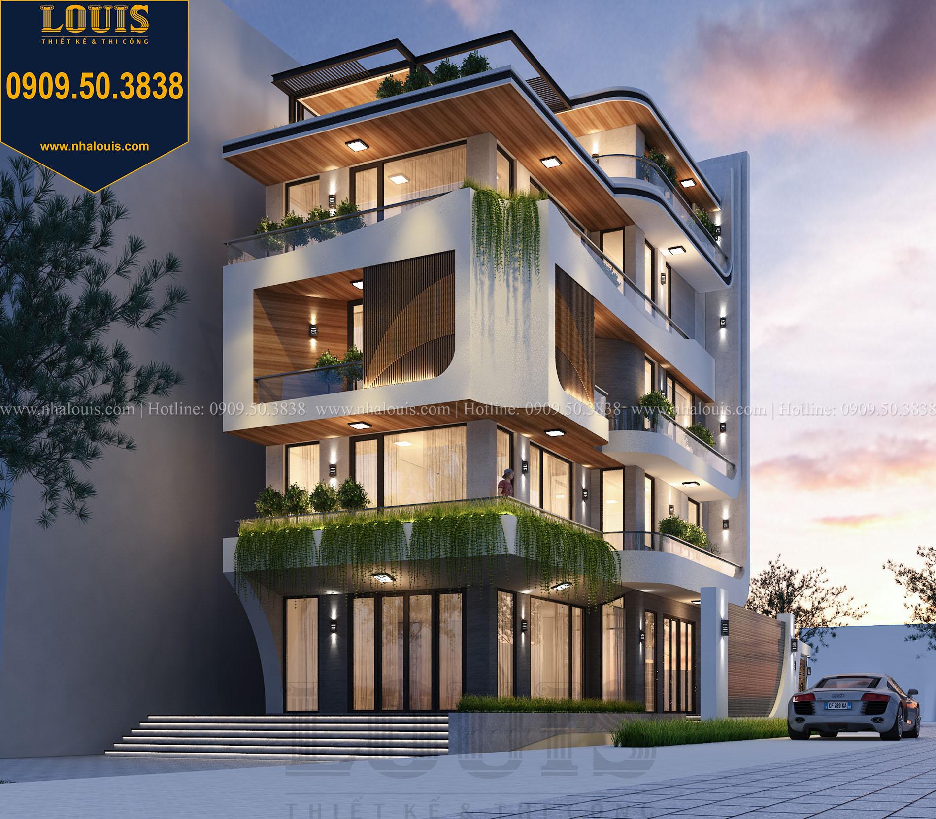 Mặt tiền Thiết kế biệt thự 5 tầng hiện đại đẹp lung linh tại Nha Trang - 003