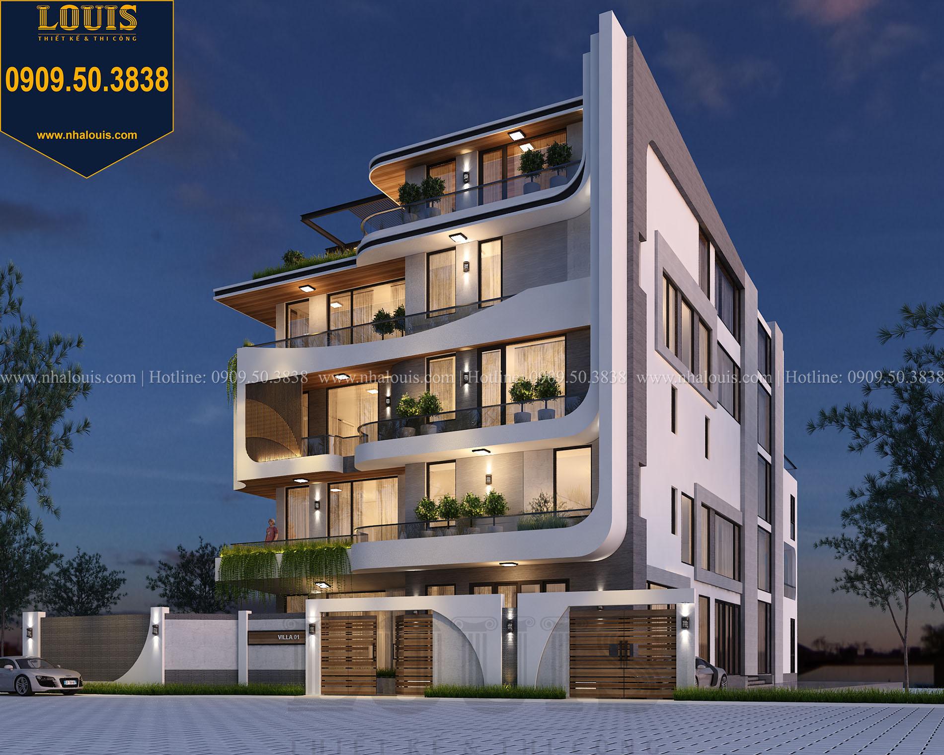Mặt tiền Thiết kế biệt thự 5 tầng hiện đại đẹp lung linh tại Nha Trang - 004