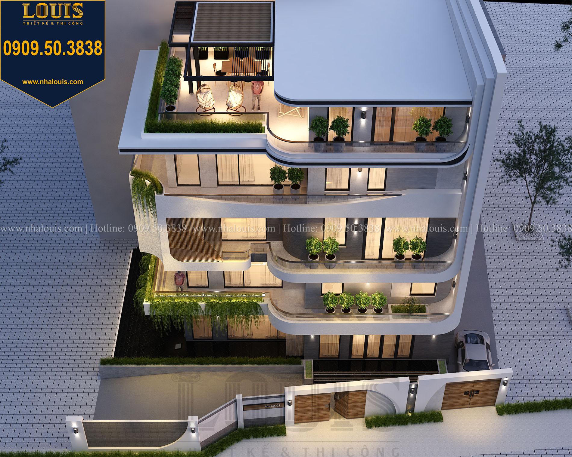 Mặt tiền Thiết kế biệt thự 5 tầng hiện đại đẹp lung linh tại Nha Trang - 005