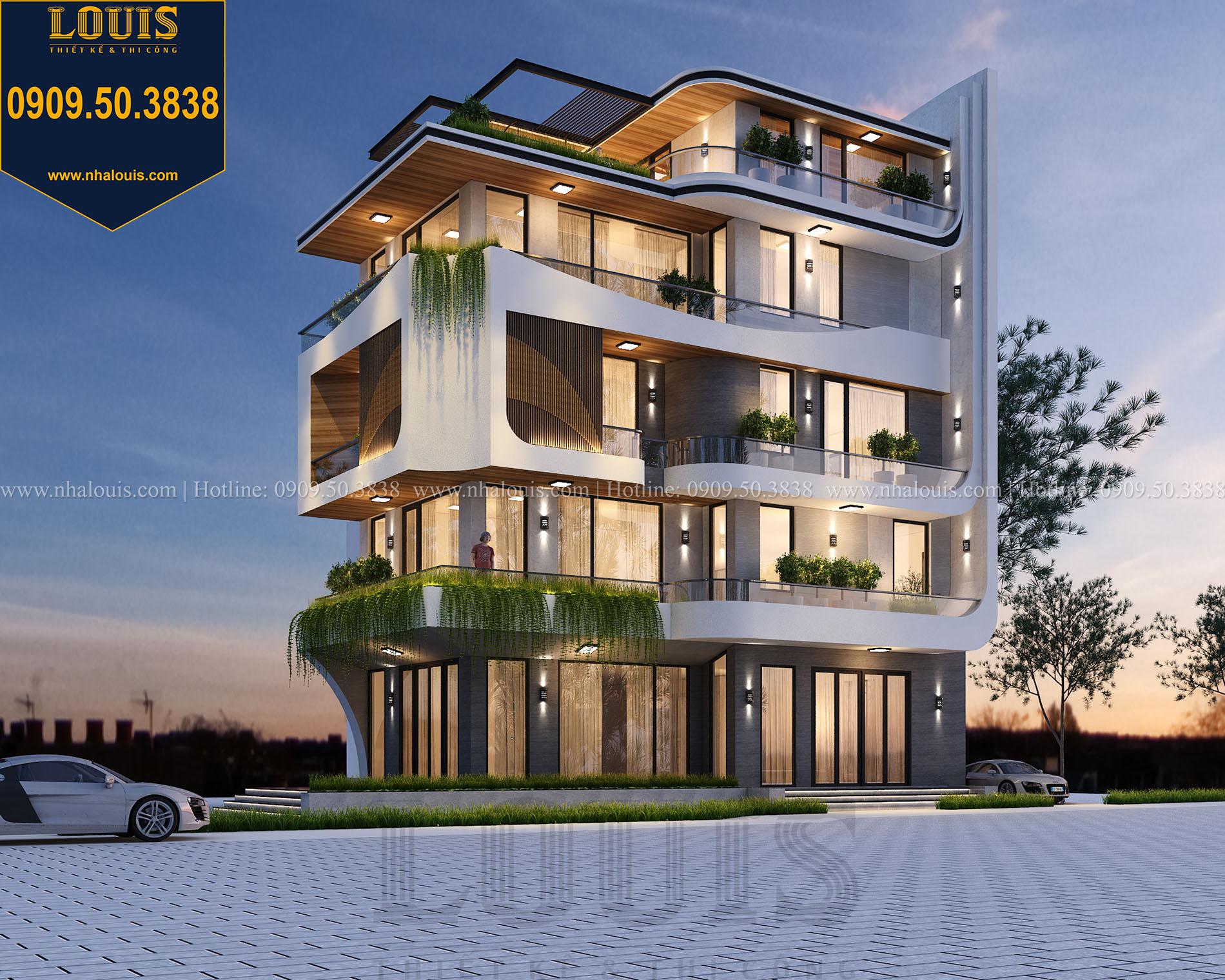 Mặt tiền Thiết kế biệt thự 5 tầng hiện đại đẹp lung linh tại Nha Trang - 006