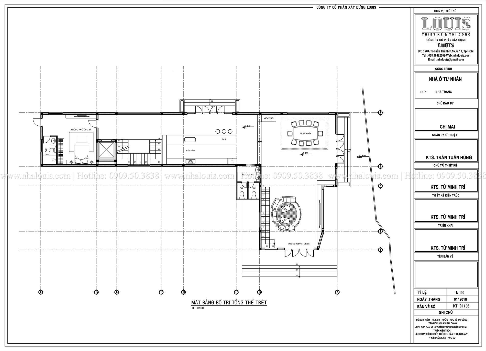 Mặt bằng tầng trệt Thiết kế biệt thự 5 tầng hiện đại đẹp lung linh tại Nha Trang - 008