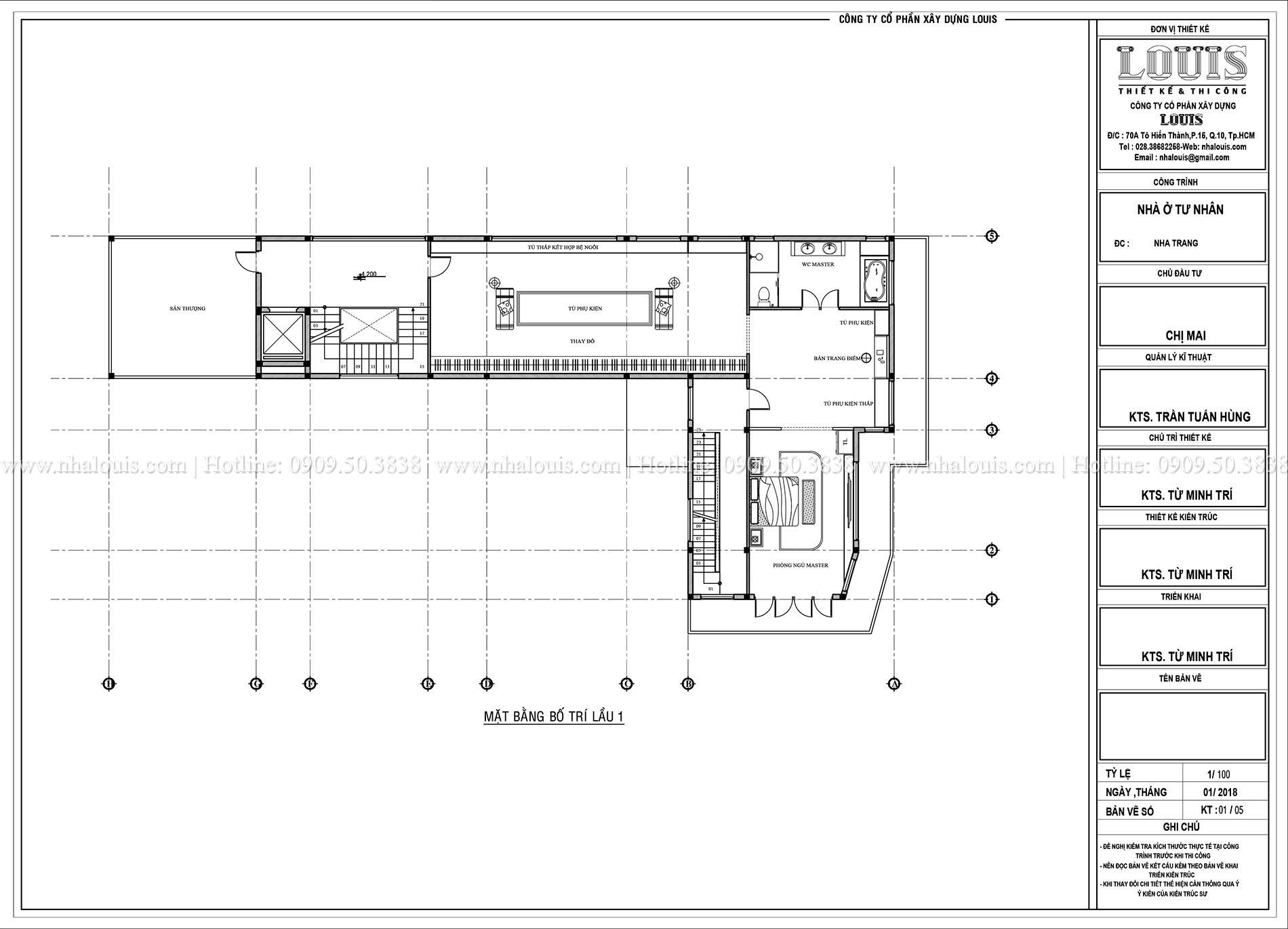 Mặt bằng lầu 1 Thiết kế biệt thự 5 tầng hiện đại đẹp lung linh tại Nha Trang - 009