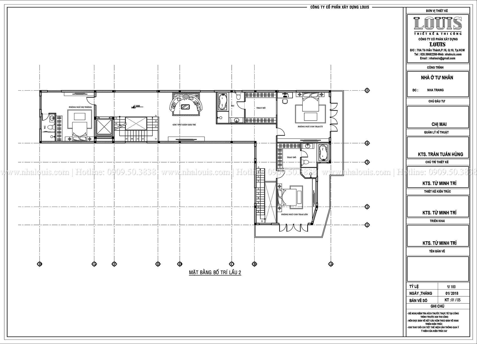 Mặt bằng lầu 2 Thiết kế biệt thự 5 tầng hiện đại đẹp lung linh tại Nha Trang - 010