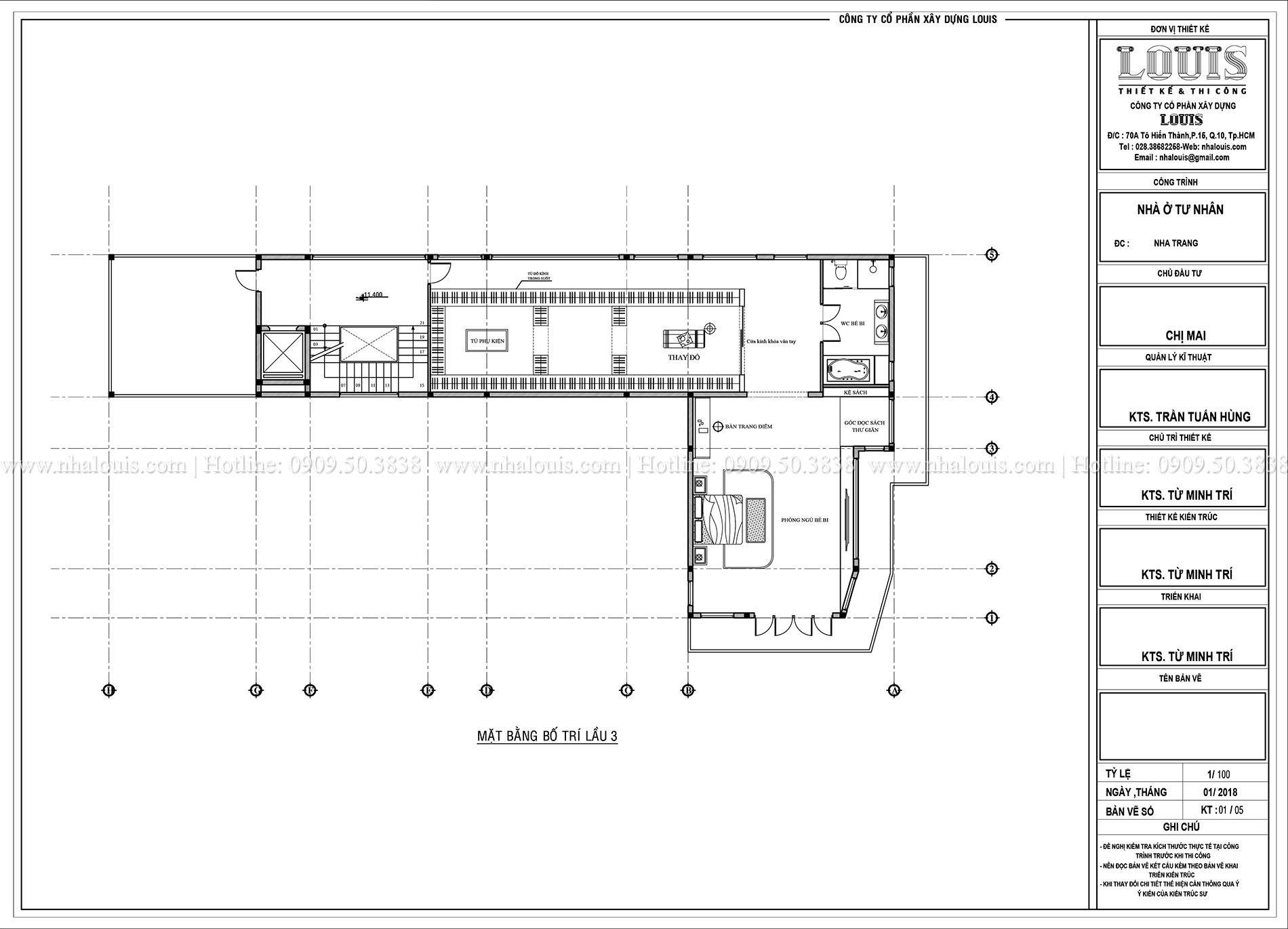 Mặt bằng lầu 3 Thiết kế biệt thự 5 tầng hiện đại đẹp lung linh tại Nha Trang - 011