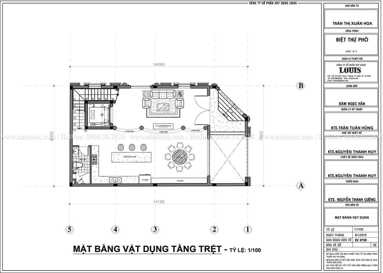 mặt bằng tầng trệt Thiết kế biệt thự phố 2 mặt tiền phong cách cổ điển tại Quận 11 - 05
