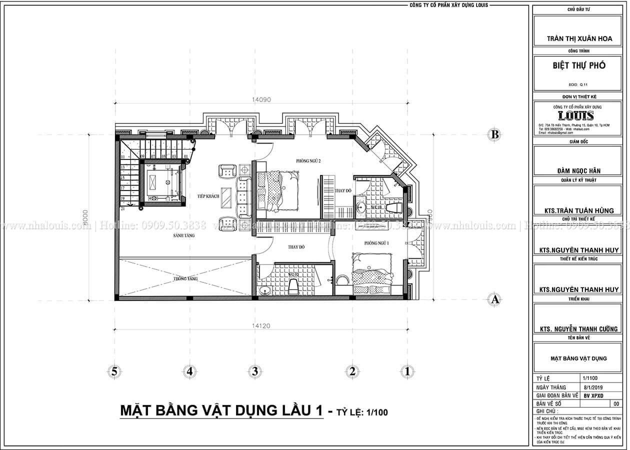 mặt bằng tầng 1 Thiết kế biệt thự phố 2 mặt tiền phong cách cổ điển tại Quận 11 - 06