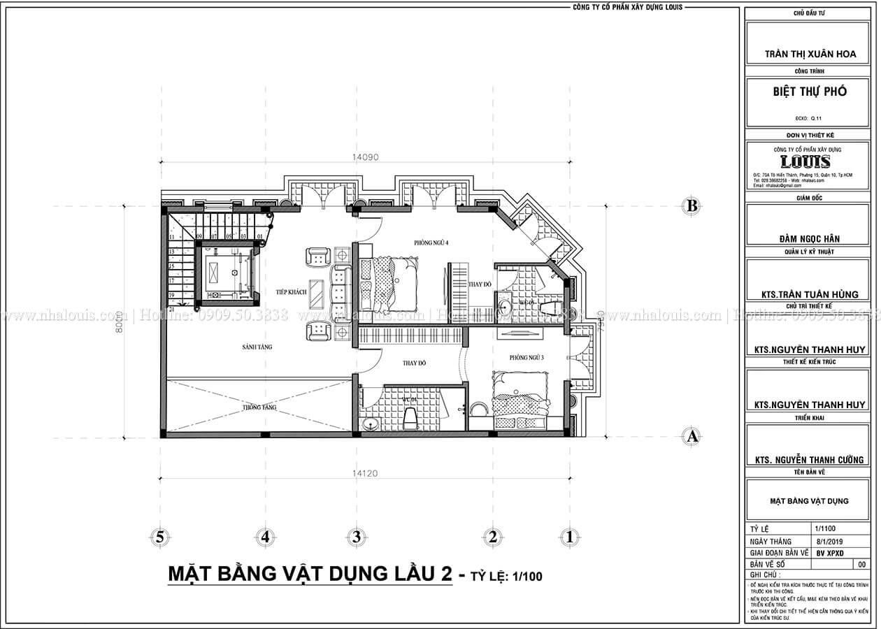 mặt bằng tầng 2 Thiết kế biệt thự phố 2 mặt tiền phong cách cổ điển tại Quận 11 - 07