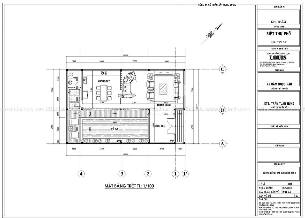 Mặt bằng tầng trệt Thiết kế biệt thự phố tân cổ điển đẹp sang trọng tại Cần Thơ - 03