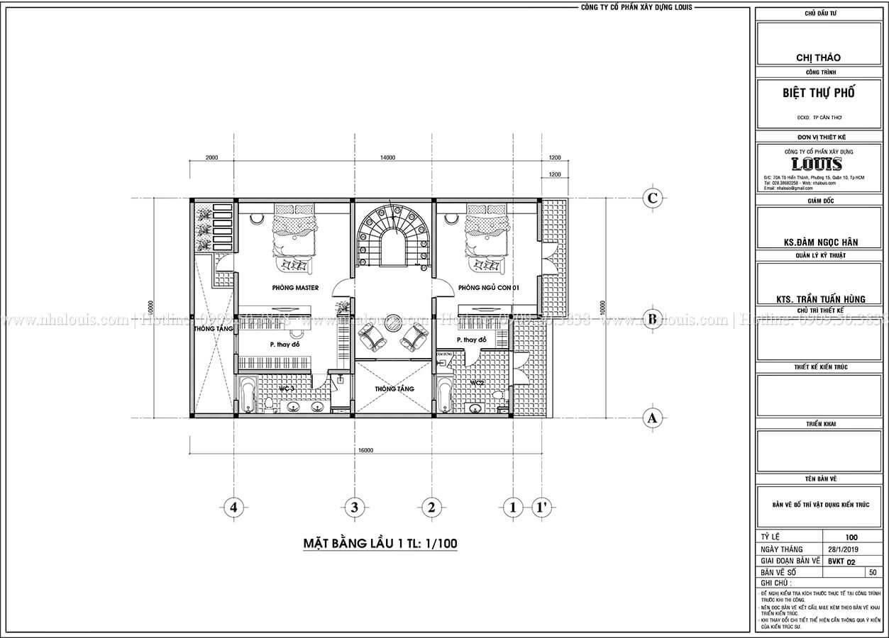 Mặt bằng tầng 1 Thiết kế biệt thự phố tân cổ điển đẹp sang trọng tại Cần Thơ - 04
