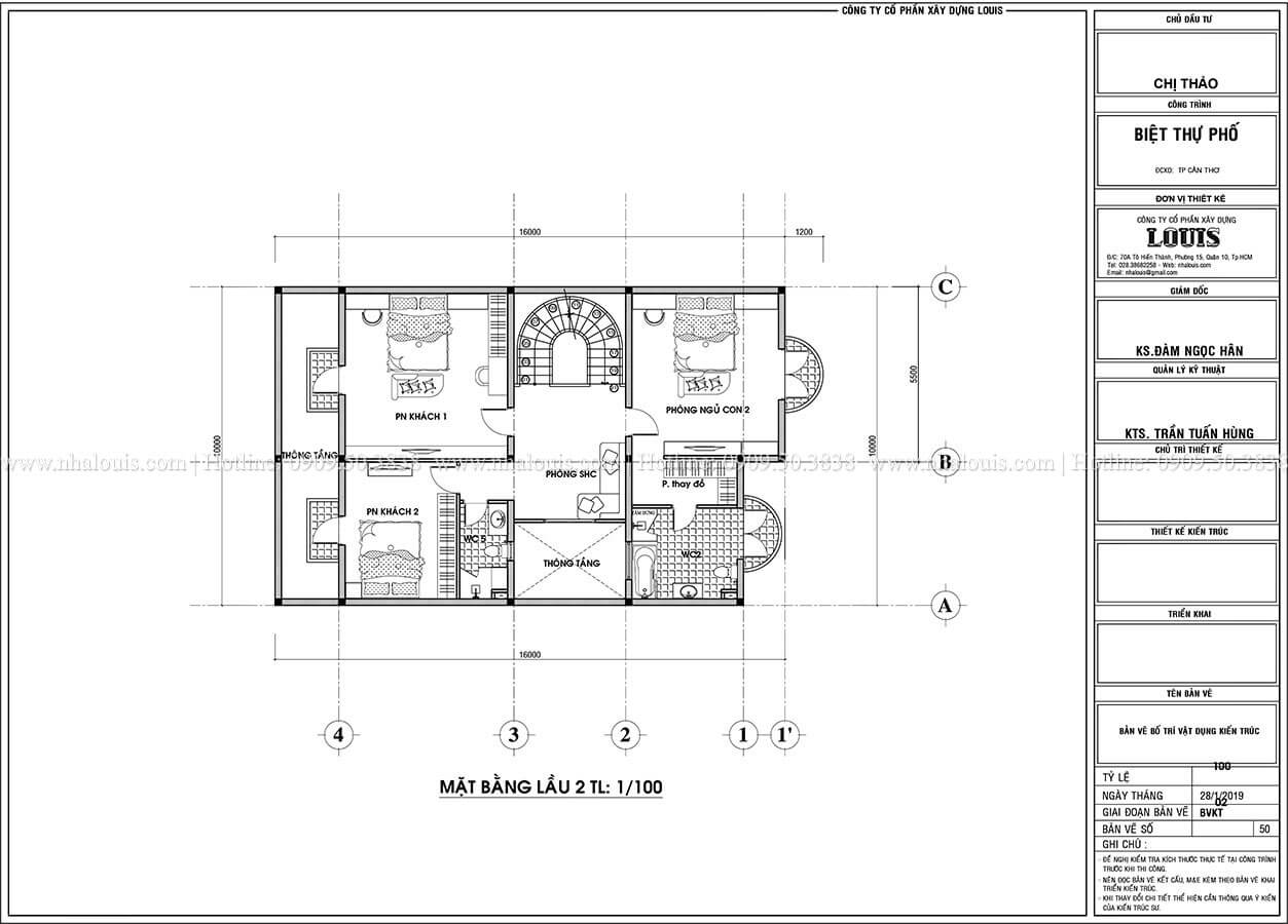 Mặt bằng tầng 2 Thiết kế biệt thự phố tân cổ điển đẹp sang trọng tại Cần Thơ - 05