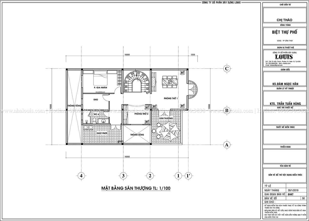 Mặt bằng tầng sân thượng Thiết kế biệt thự phố tân cổ điển đẹp sang trọng tại Cần Thơ - 06
