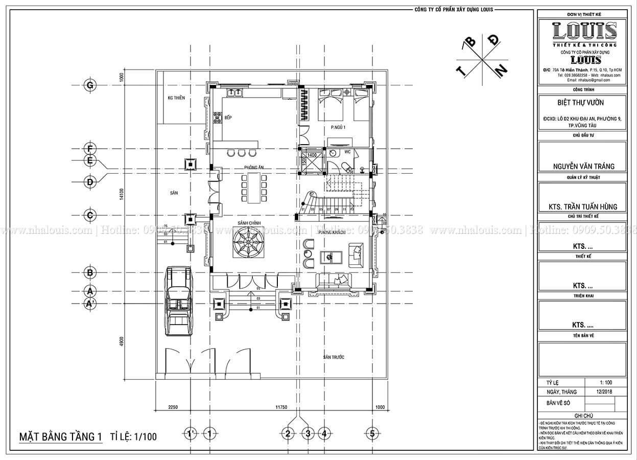 Mặt bằng tầng trệt Thiết kế biệt thự tân cổ điển 3 tầng đẹp thơ mộng tại Vũng Tàu - 06