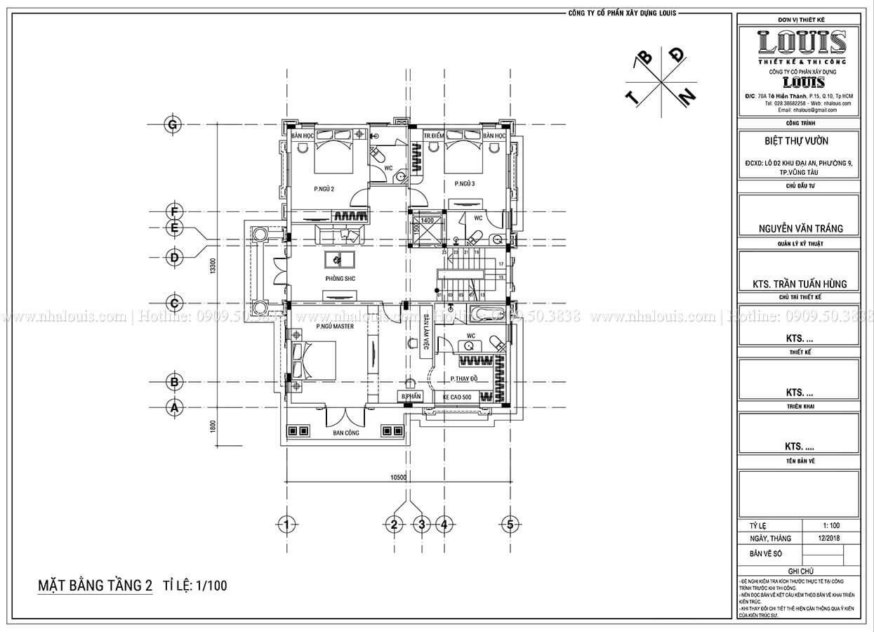 Mặt bằng tầng 1 Thiết kế biệt thự tân cổ điển 3 tầng đẹp thơ mộng tại Vũng Tàu - 07