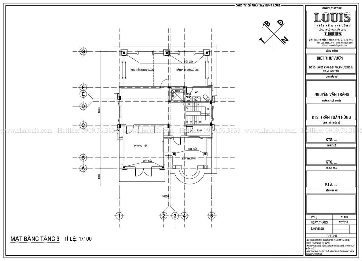 Mặt bằng tầng 2Thiết kế biệt thự tân cổ điển 3 tầng đẹp thơ mộng tại Vũng Tàu - 08