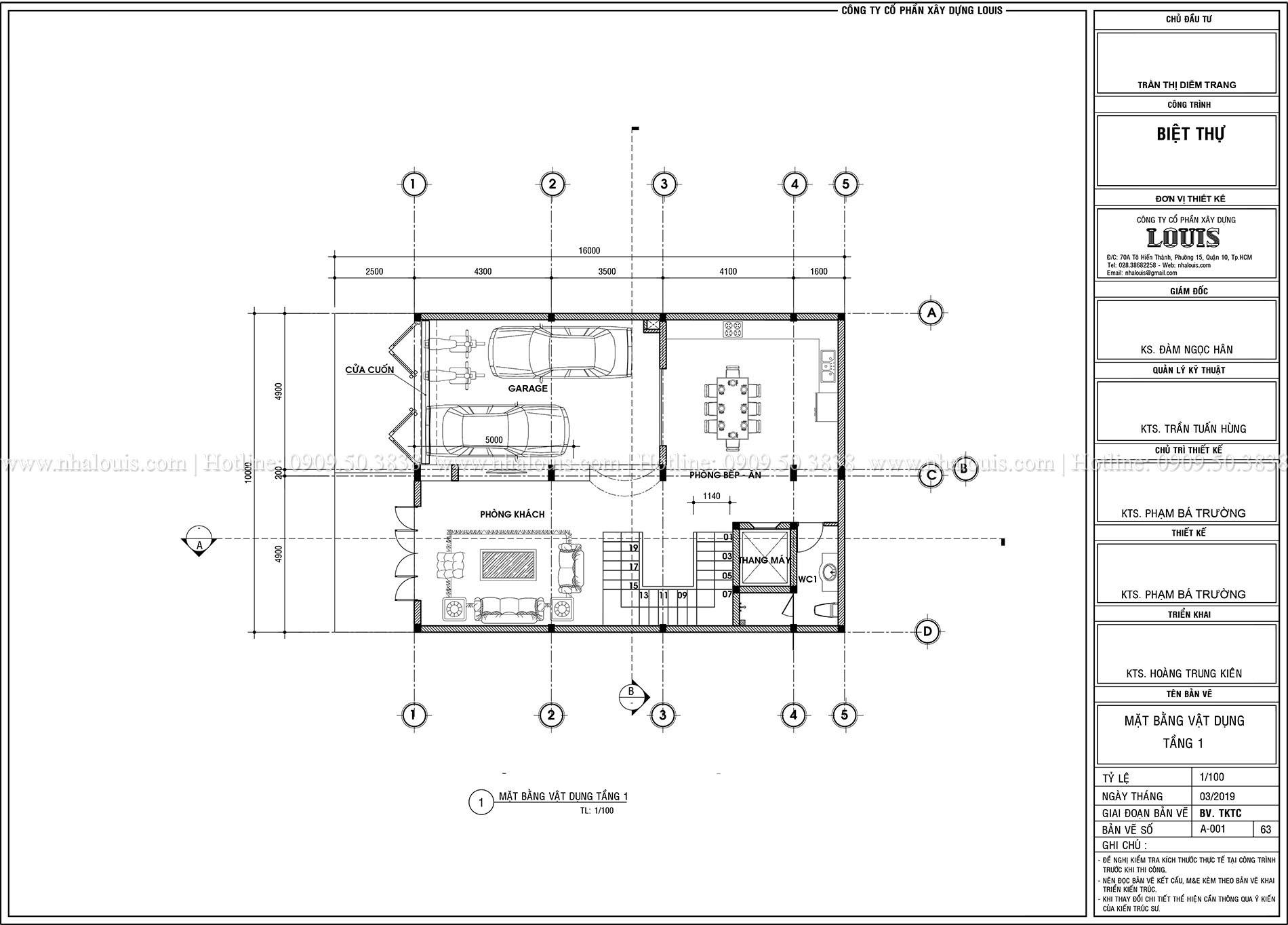 Mặt tbằng tầng trệt Thiết kế biệt thự tân cổ điển 4 lầu đẹp quý phái tại Tân Phú - 03