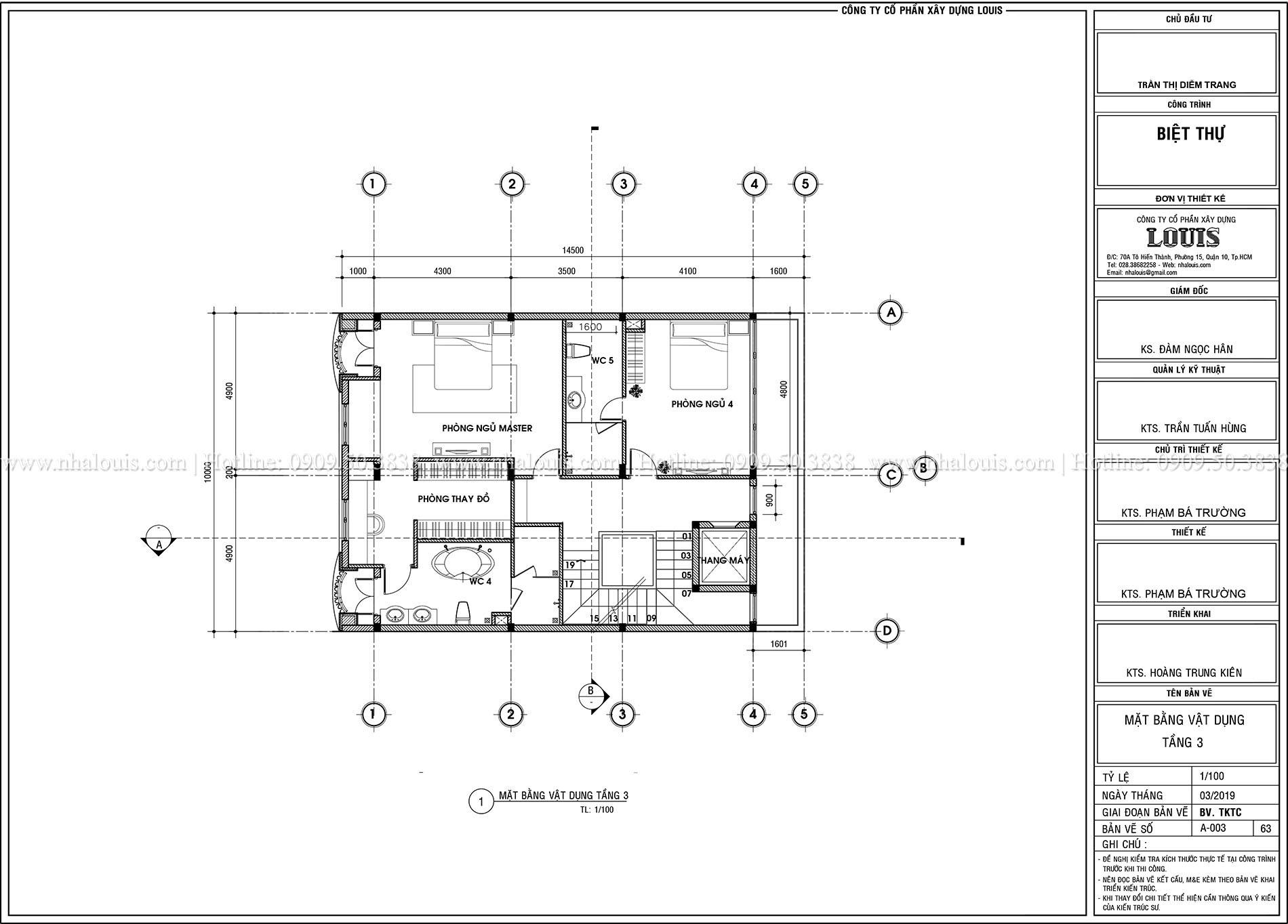 Mặt tbằng tầng 2 Thiết kế biệt thự tân cổ điển 4 lầu đẹp quý phái tại Tân Phú - 05