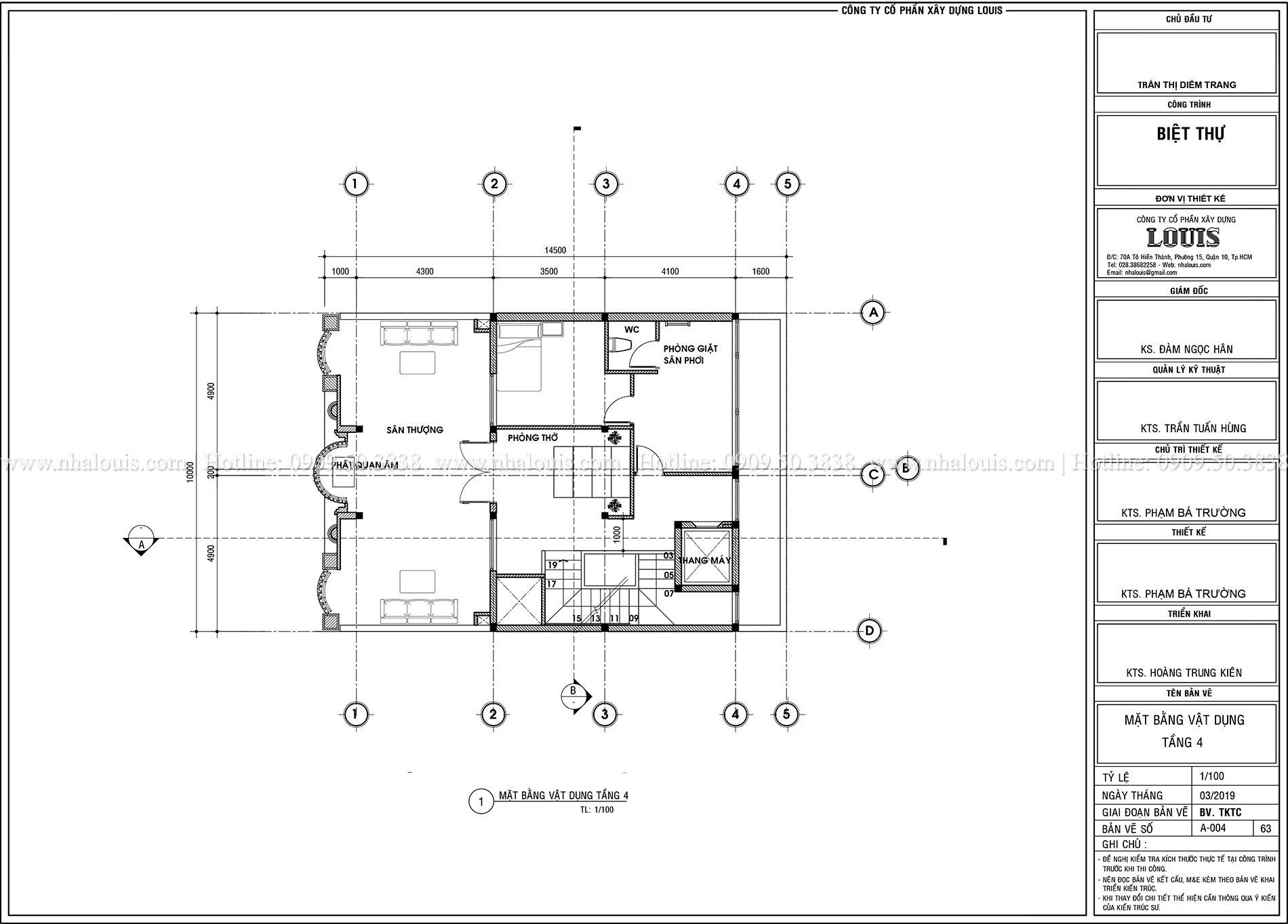 Mặt tbằng tầng 3 Thiết kế biệt thự tân cổ điển 4 lầu đẹp quý phái tại Tân Phú - 06