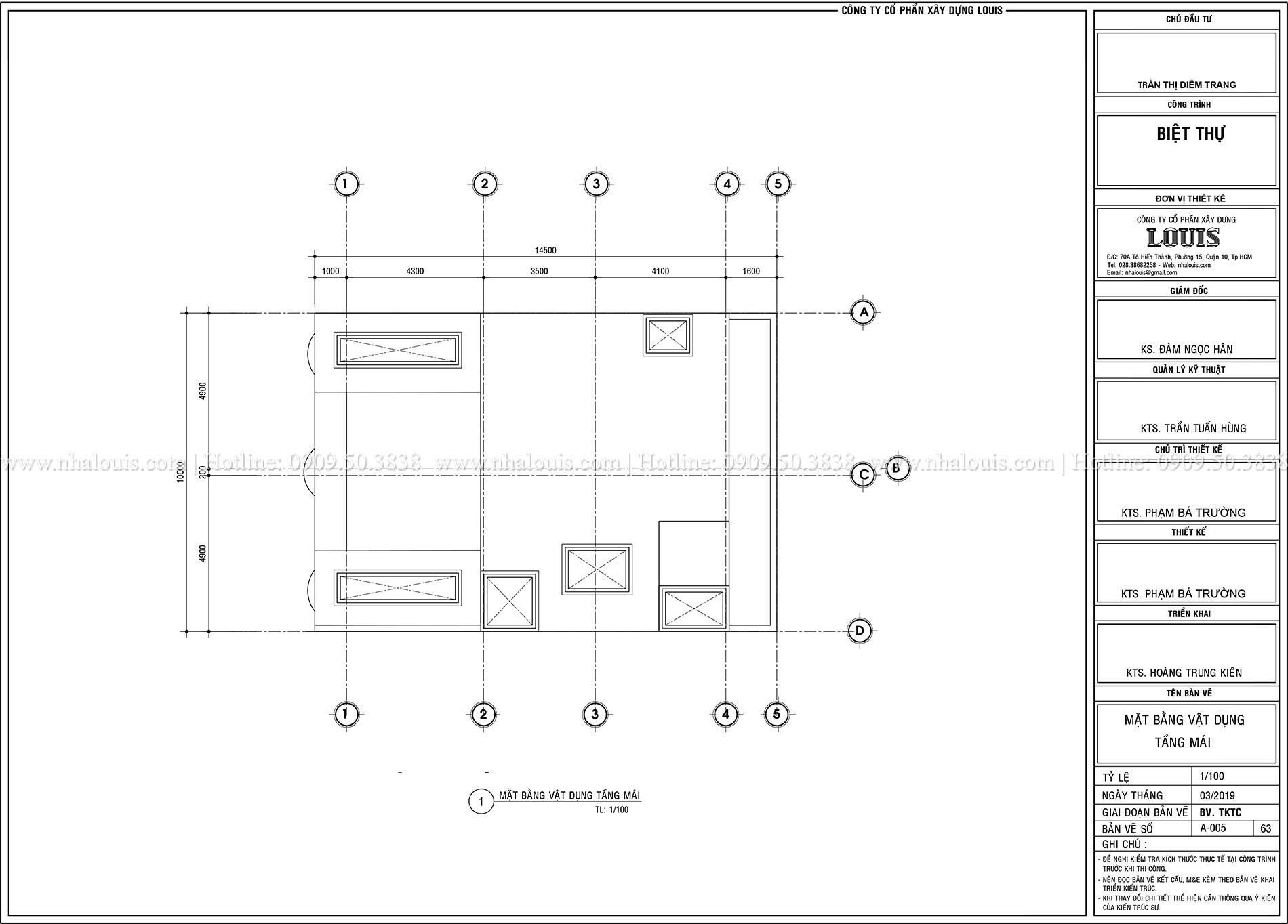 Mặt tbằng tầng mái Thiết kế biệt thự tân cổ điển 4 lầu đẹp quý phái tại Tân Phú - 07