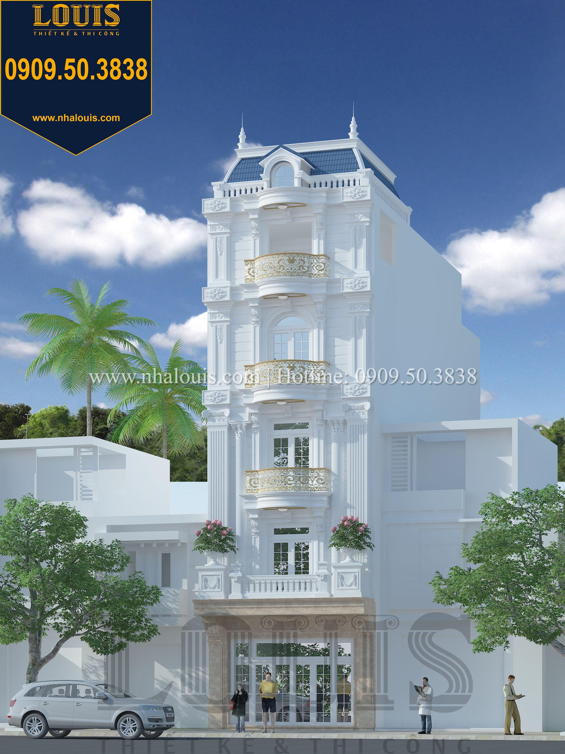 Mặt tiền Thiết kế nhà phố 5 tầng mặt tiền 6m đẹp quyến rũ tại Tân Phú - 01
