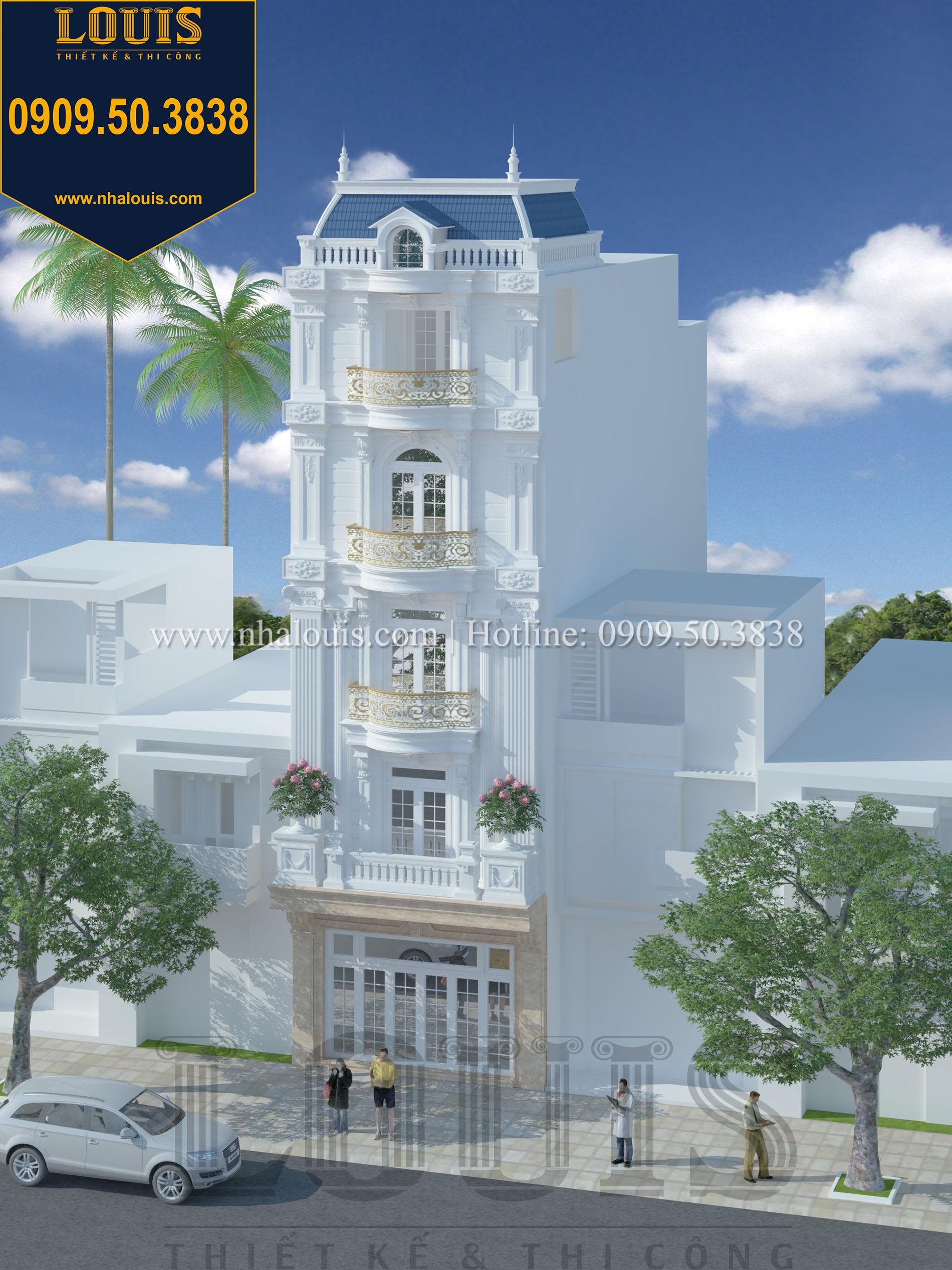 Mặt tiền Thiết kế nhà phố 5 tầng mặt tiền 6m đẹp quyến rũ tại Tân Phú - 02
