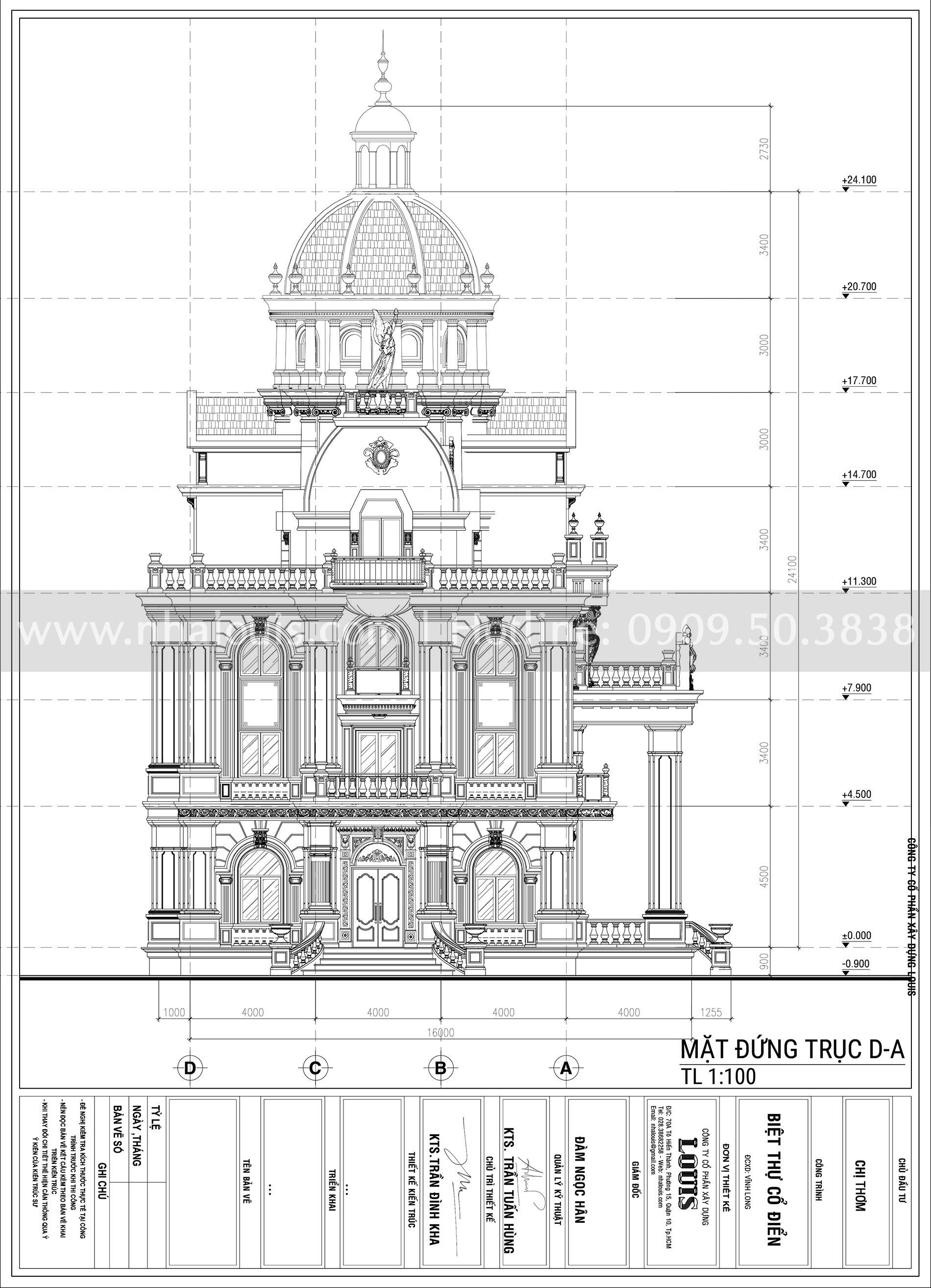 Biệt thự 1 trệt 3 lầu cổ điển cực hoành tráng tại Vĩnh Long