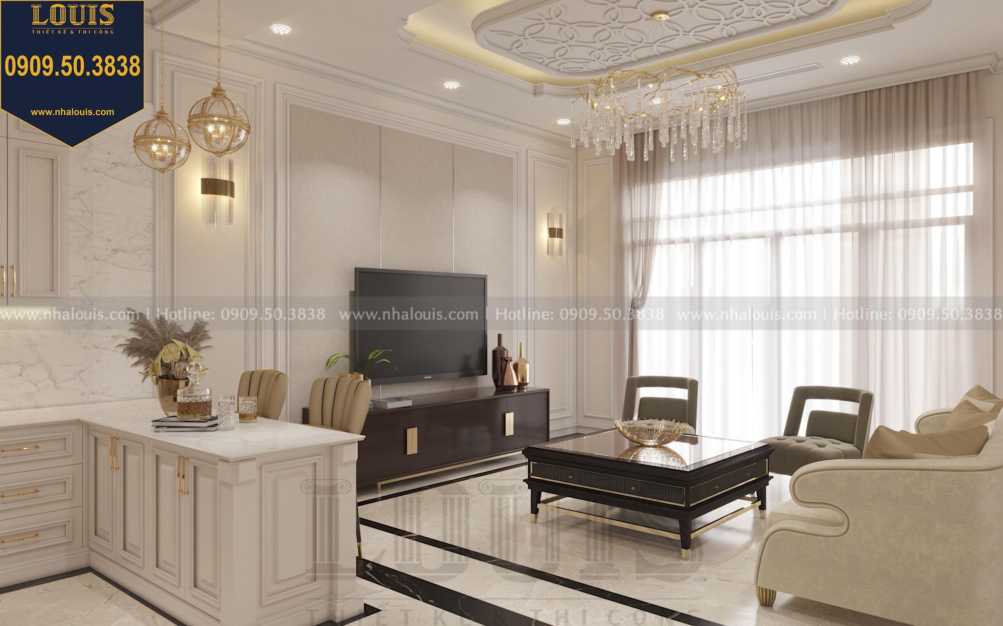 Thiết kế phòng khách nhà phố phong cách tân cổ điển