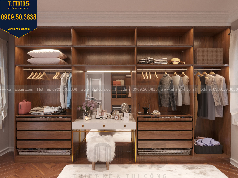 Thiết kế phòng thay đồ master nhà phố phong cách tân cổ điển