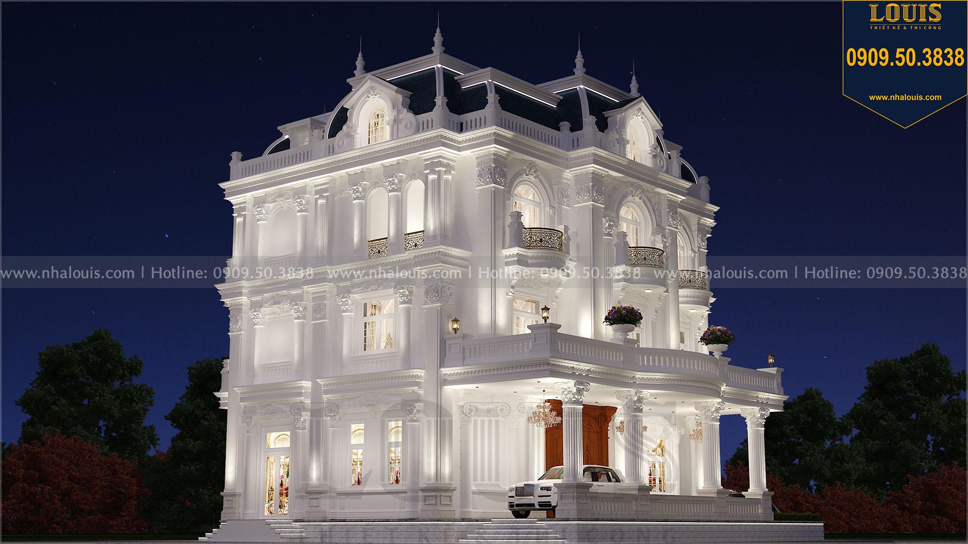 Mặt tiền biệt thự tân cổ điển 4 tầng đơn lập Quảng Ngãi