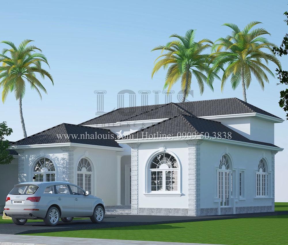 Biệt thự 1 tầng mái thái đẹp bình dị với sân vườn rộng thoáng tại Bình Chánh
