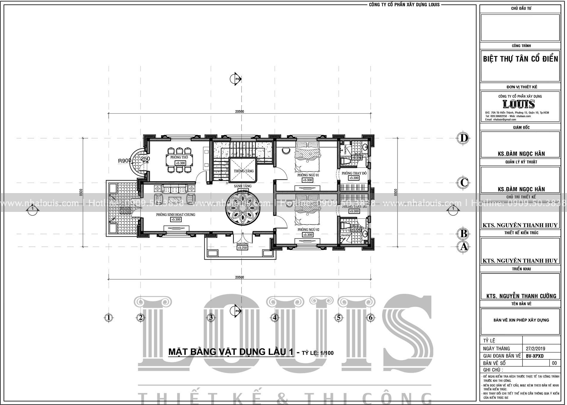 Mặt bằng tầng 1 biệt thự 2 tầng mặt tiền 8m