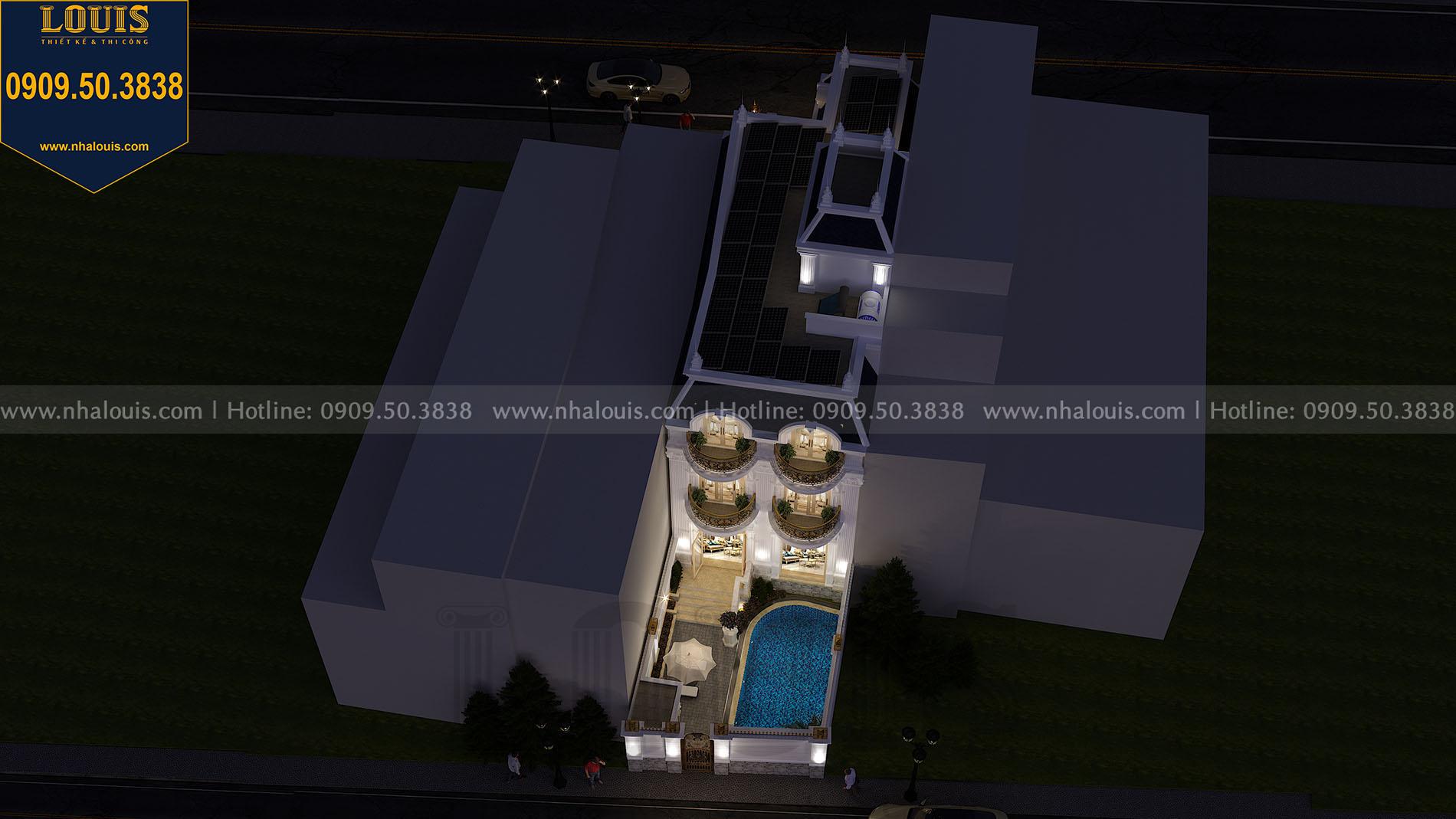 Hình ảnh phối cảnh biệt thự phố mặt tiền 8m nhìn từ trên cao